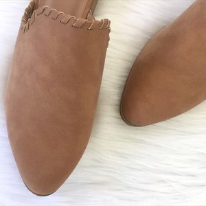 Shoes - Vegan Leather Suede Braided Stitch Mules